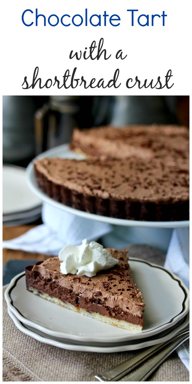 Chocolate Tart with a Shortbread Crust and a dark whipped cream frosting #chocolate #chocolatetart #chocolatewhippedcream