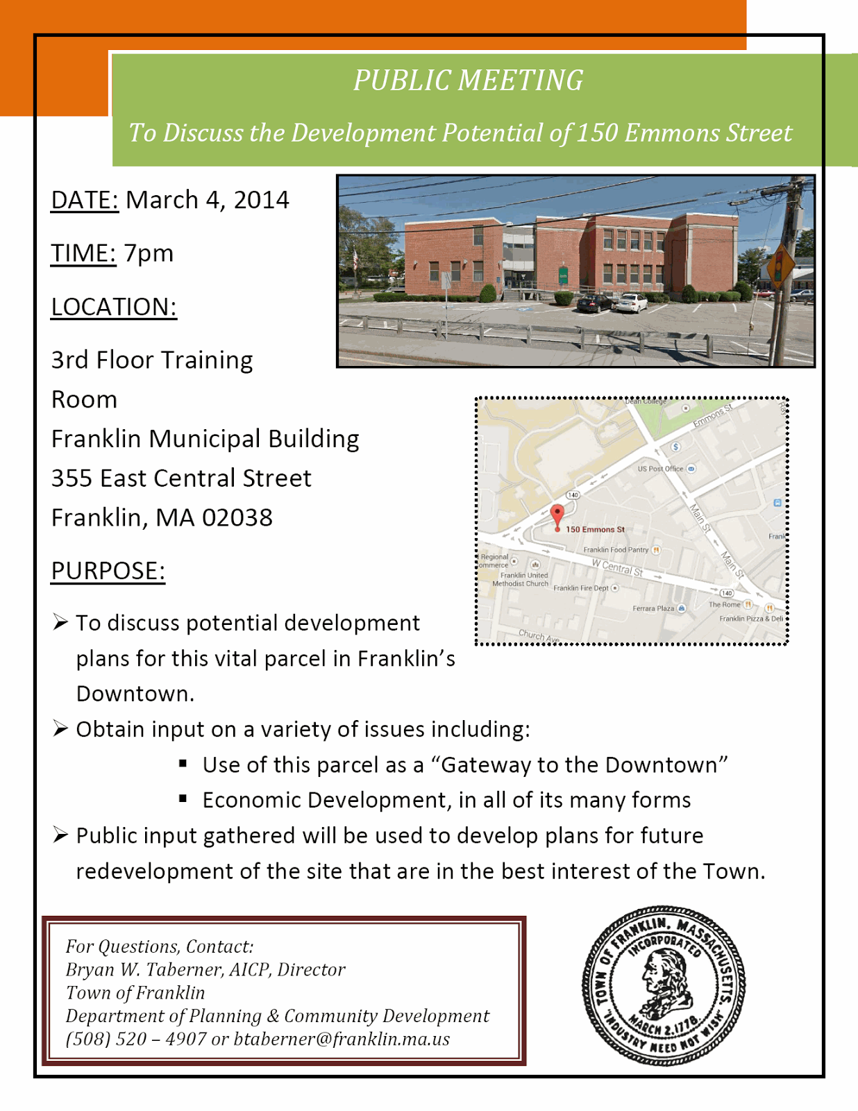 flyer for public meeting on future of Emmons St building