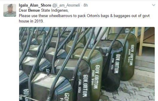 Nigerians on Twitter react after Gov. Ortom donates hundreds of wheelbarrows​ to youths to empower them