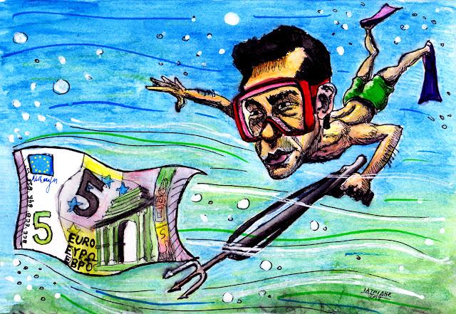 IaTriDis Γελοιογραφία για την εφημερίδα Άποψη του Νότου, Κρήτη, με θέμα το ψαροντούφεκο του Τσίπρα