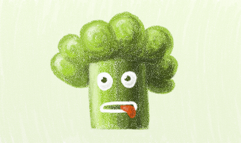 Funny green broccoli character
