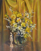 "May inspiration is by Reginald Earl (Reg) Campbell with ""Still life with daffodils""."