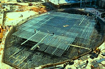 Reinforcement placing for Raft foundation construction in PETRONAS Tower
