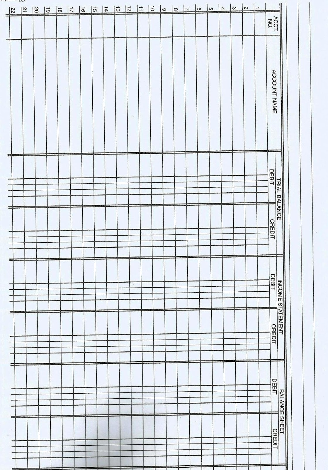 11 Blank Accounting Worksheet Template Printable Zip