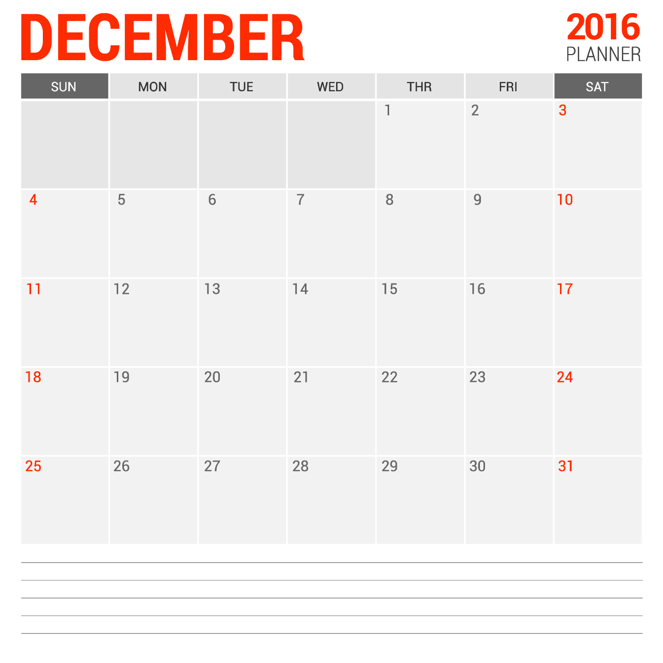 Free Printable Monthly Calendar December 2016 2016 Blank