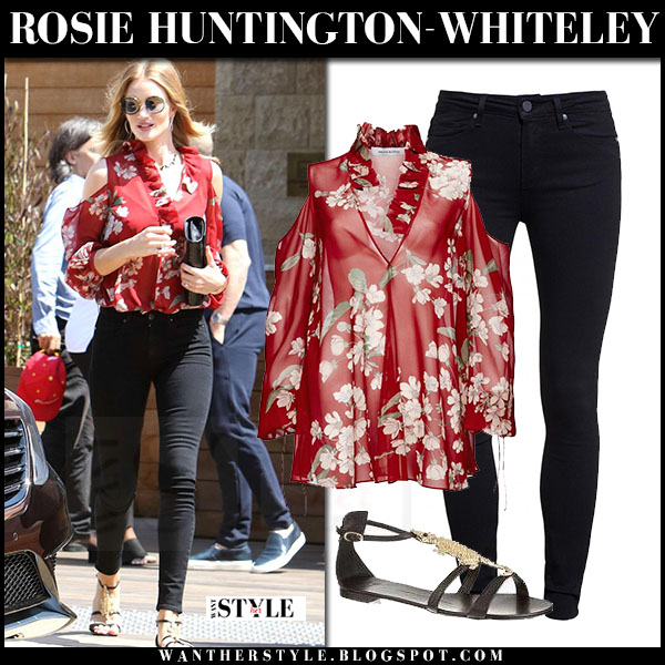 Rosie Huntington-Whiteley in red floral print magda butrym blouse and black skinny jeans what she wore streetstyle