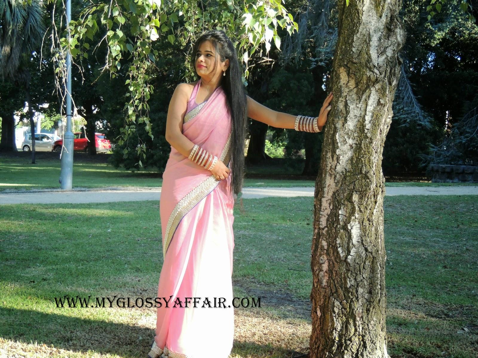 Pink Pearl Saree OOTD