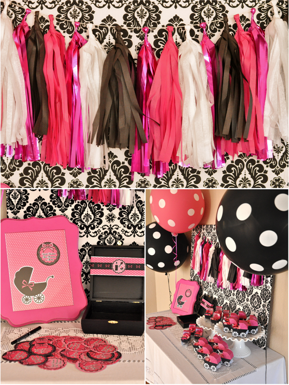 Pink and Black Glam Baby Shower and Printables - via BirdsParty.com