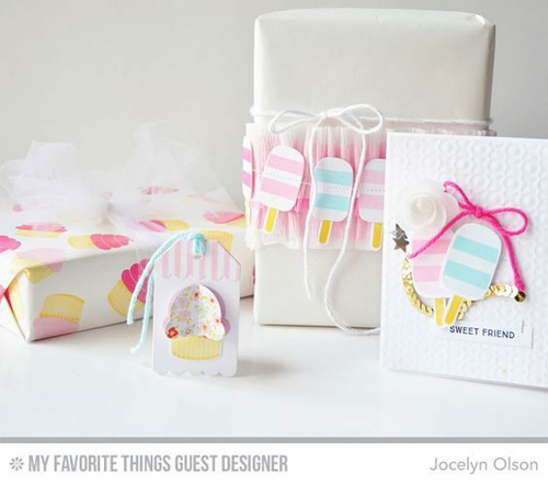 Handmade birthday party ensemble from Jocelyn Olson featuring Lisa Johnson Designs You're the Sweetest stamp set and Die-namics and Sweet Treats Die-namics, and Tag Builder Blueprints 2 Die-namics #mftstamps
