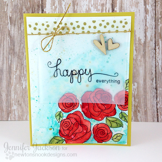Happy Everything! Watercolored Rose Card by Jennifer Jackson | Love Grows and Simply Sentimental Stamp sets by Newton's Nook Designs #newtonsnook
