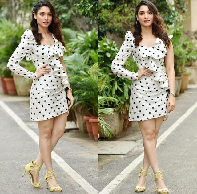 Tamannaah Bhatia in a White Printed Mini Dress