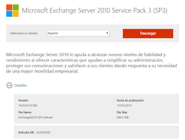 Descarga Microsoft Exchange Server 2010 Service Pack 3.