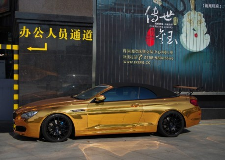 Gold Chrome Bmw 650i Convertible Has A Big Wing