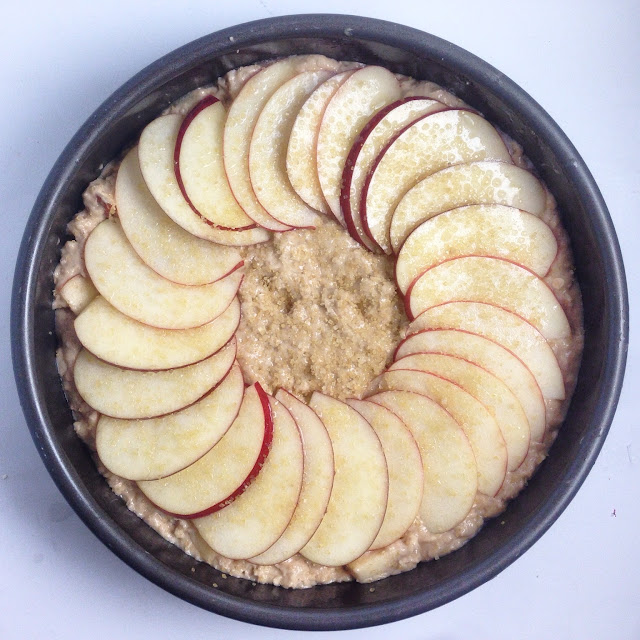 Apple Cake Topped with Fanned Apple Slices and Coarse Sugar