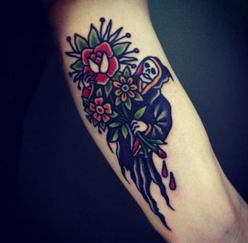 grim reaper tattoos with flower çiçekli azrail dövmeleri
