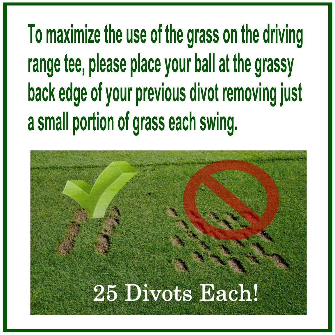 My Time At Stone Creek Golf Club Driving Range Divot Signs