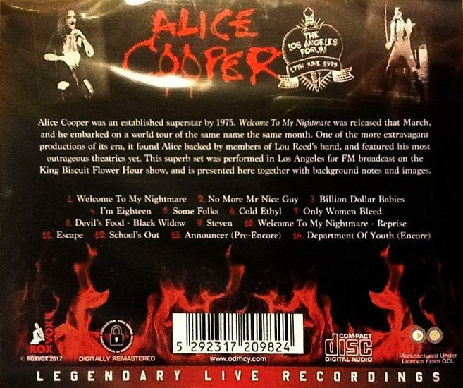 ALICE COOPER - School's Out Live: Los Angeles Forum '75 [Remastered] back