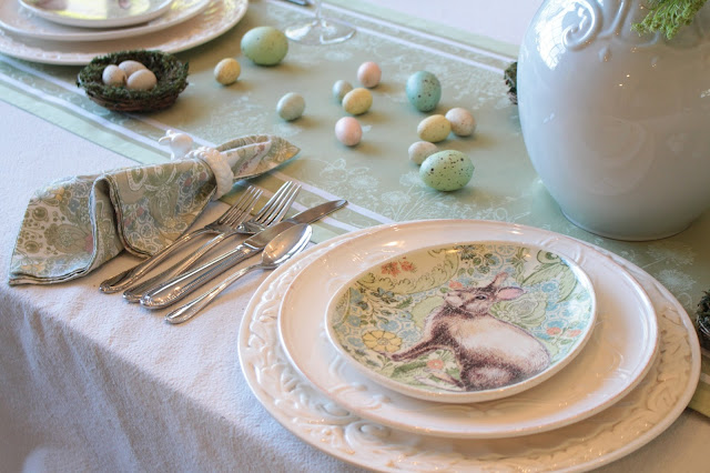 classic easter tablescape pottery barn plates bunny pastel napkins green runner eggs nests