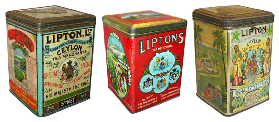 Early Lipton Tea cans