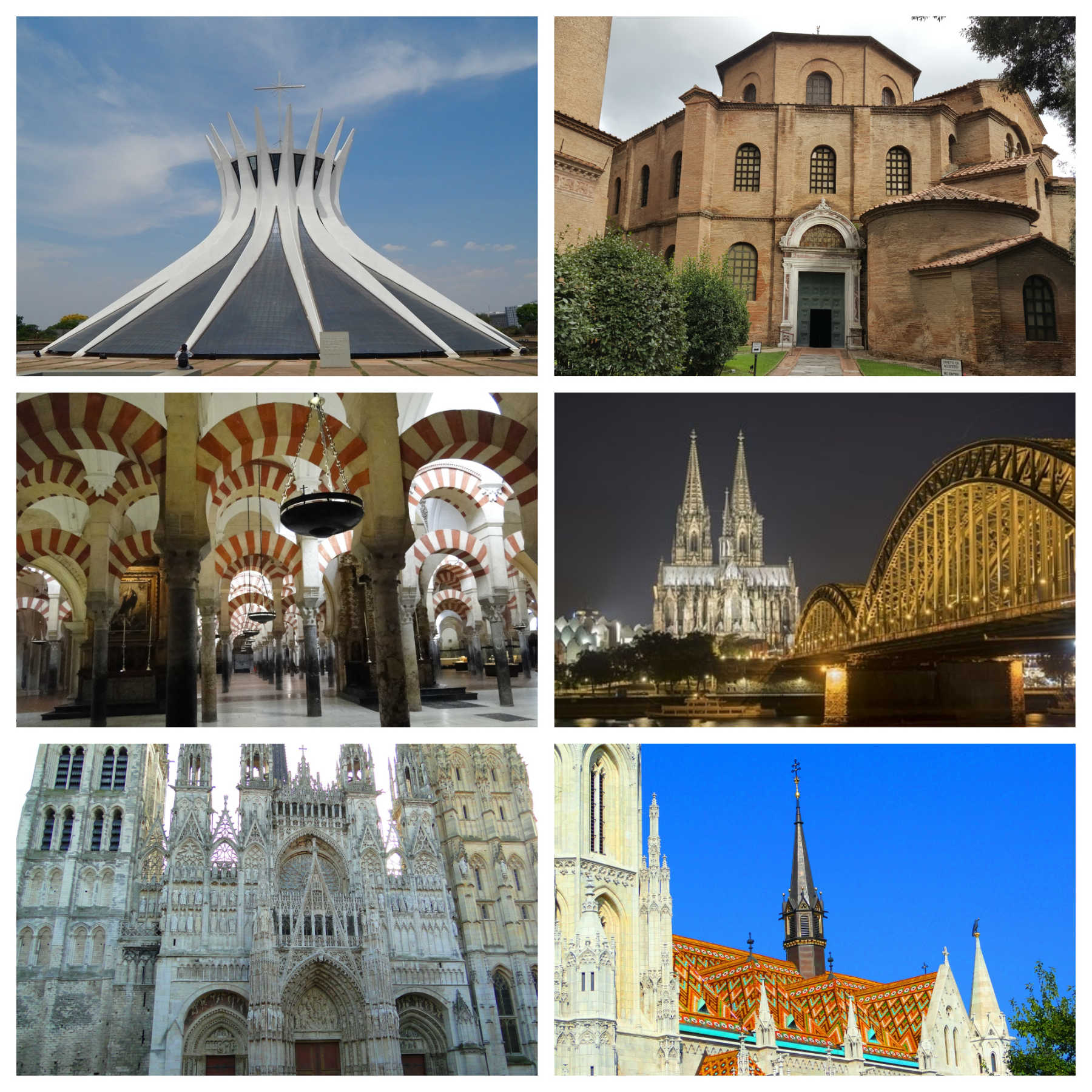 Catedral de Brasília, Basílica de San Vitale, Mesquita de Córdoba, Catedral de Colônia, Catedral de Rouen, Igreja de Matias.