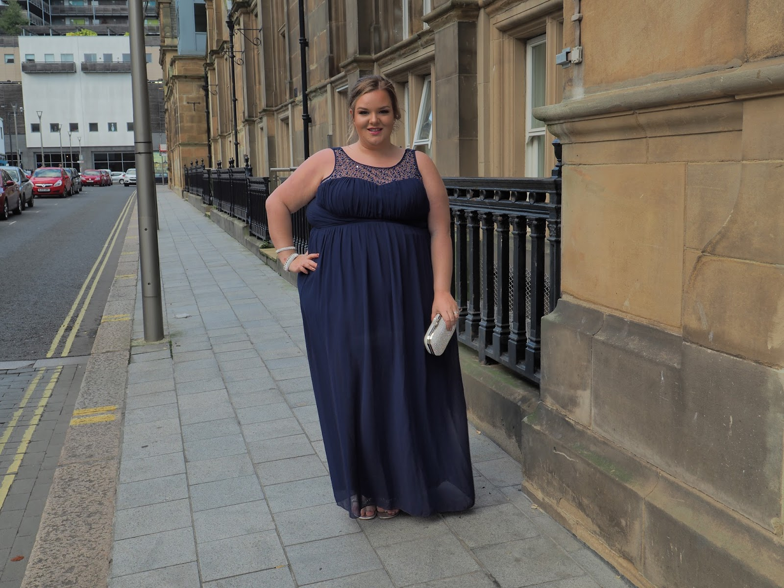 Plus size occasion wear, Little Mistress Curvy Navy Embellished Neck Maxi Dress review image