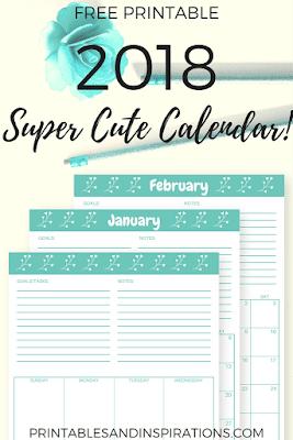 cute 2018 calendar