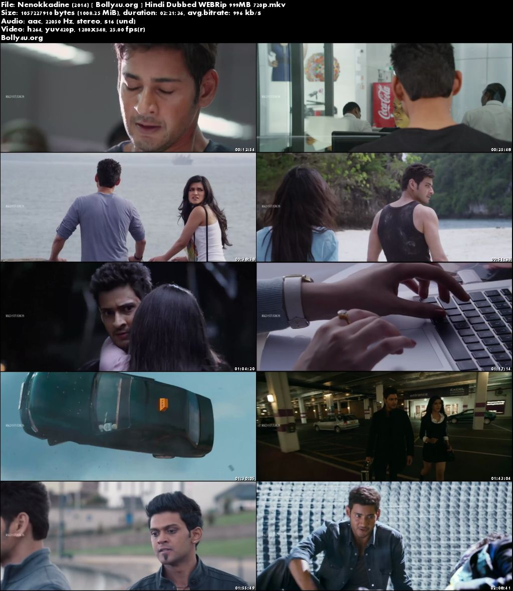 1 Nenokkadine 2014 WEBRip 400Mb Hindi Dubbed 480p Download