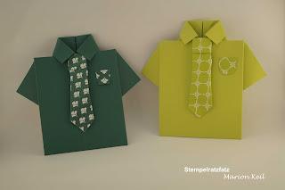 Karte Männerhemd Smaragdgrün und Limette mit Stampin´ Up!