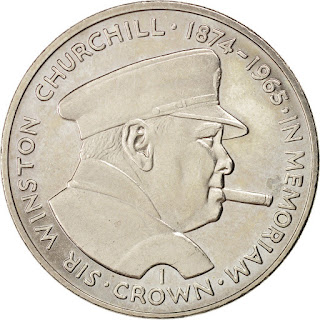 Isle of Man Coins One Crown 1990 Sir Winston Churchill smoking a cigar