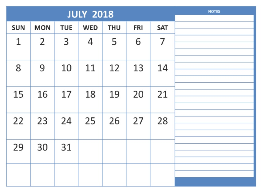 windows calendar template 2018