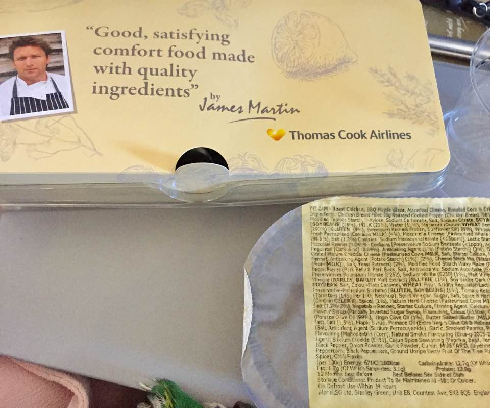 A Thomas Cook Long Haul Flight from Manchester | In-flight Meals, Entertainment & What to Expect - A Review - James Martin in flight meal