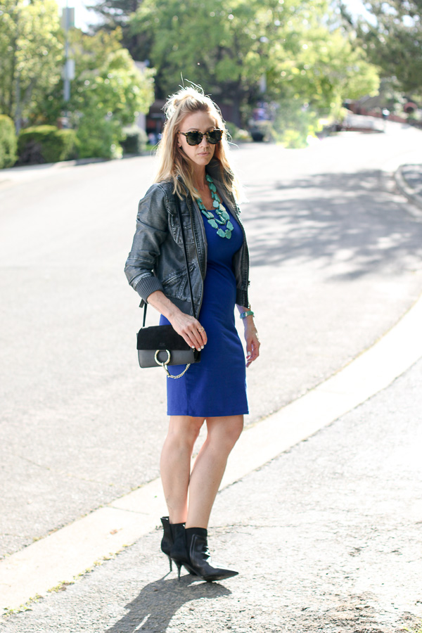 blue pencil dress blue leather bomber black pointy toe booties