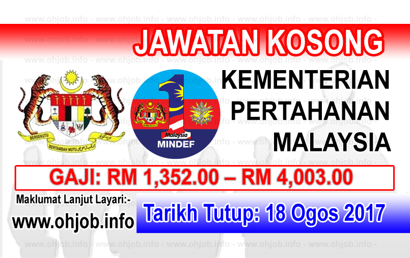 Jawatan Kerja Kosong Kementerian Pertahanan Malaysia - MOD logo www.ohjob.info ogos 2017