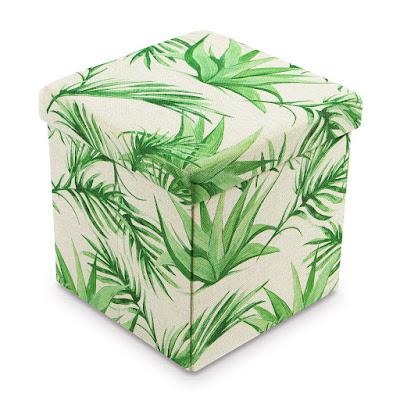 Shop the Tropical Leaves Pattern Folding Storage Ottoman - Areca Palm at NileCorp.com