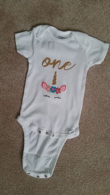 First Birthday Onesie Unicorn Silhouette Cameo by Lina and Vi