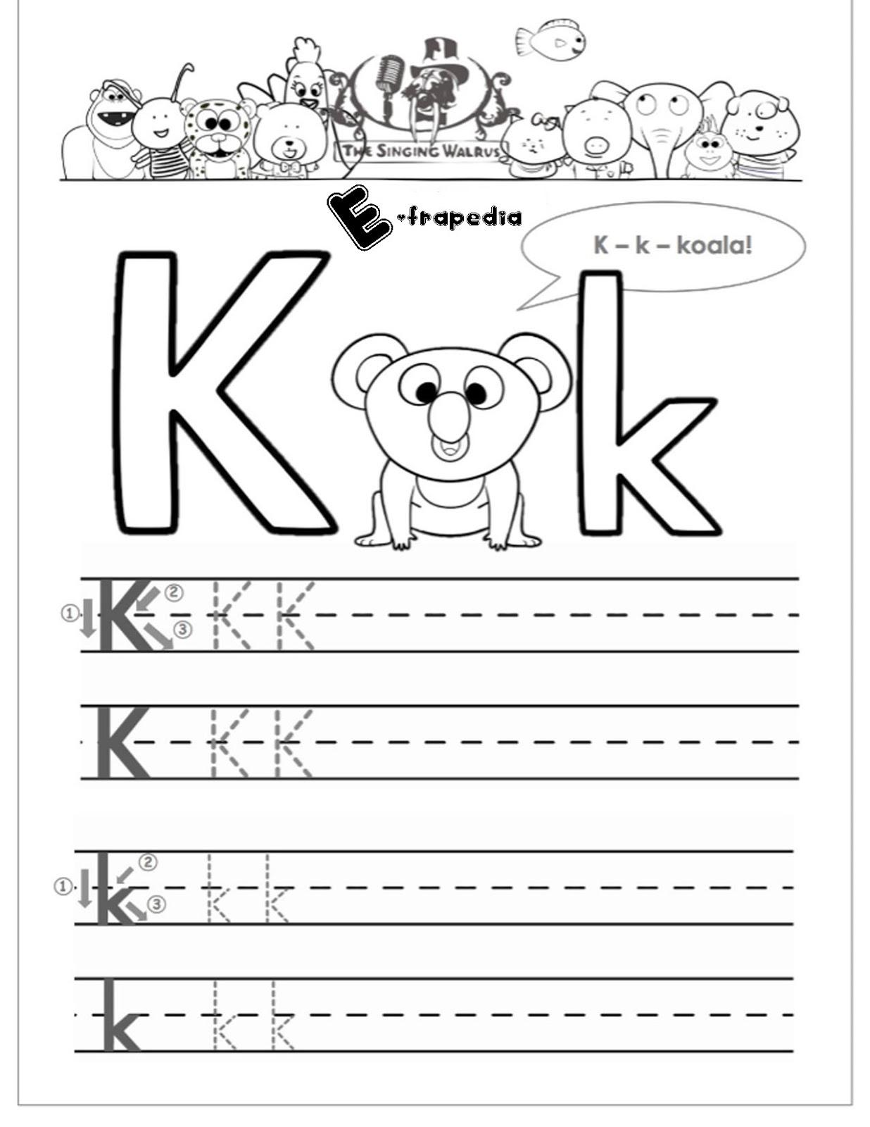 Letter K Writing And Coloring Worksheets For Kindergarten