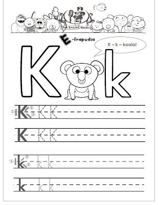 Free Printable letter K tracing worksheets for preschool