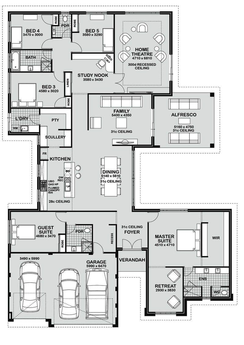 Desain Denah Rumah Minimalis 5 Kamar Tidur 1 Lantai