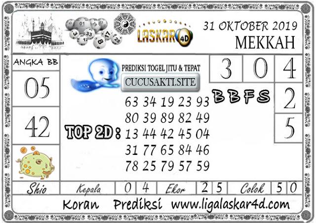 Prediksi Togel MEKKAH LASKAR4D 31 OKTOBER 2019