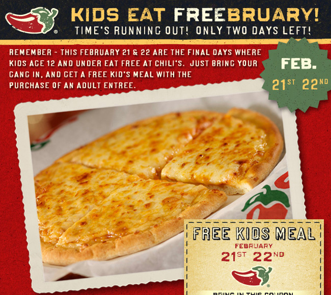 Just for signing up, new My Chili's + Plenti Rewards customer loyalty club members are credited with 60 My Chili's + Plenti Rewards Points which can be redeemed for free food or beverages immediately. Currently, 60 points are enough for a free dessert or a free kids meal. It only takes 30 points to get a free side dish or chips and salsa appetizer.