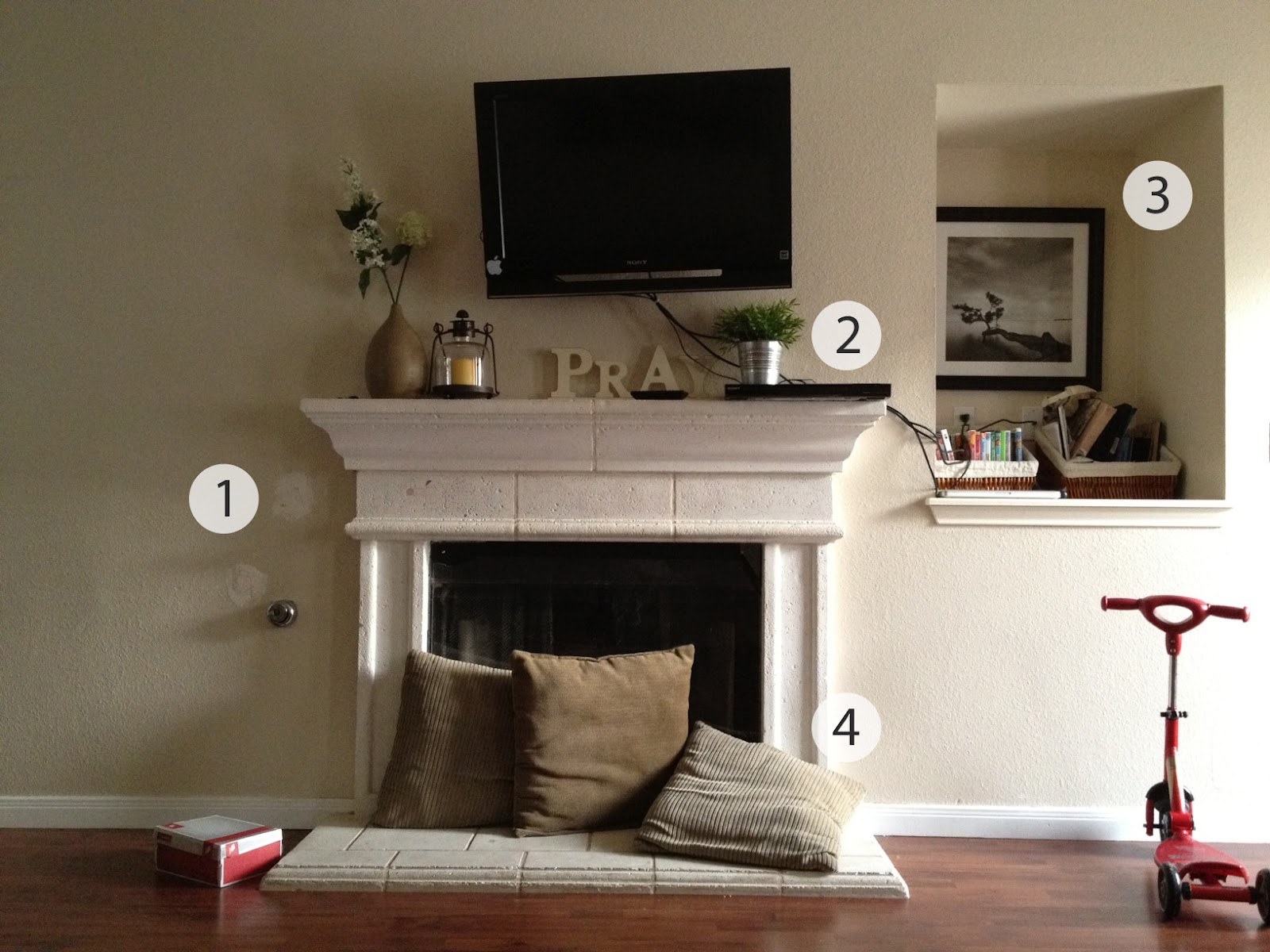 Living Room Fireplace Off Centered Burnt Orange Curtains For Cinsarah The