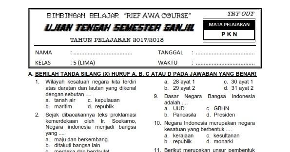 Download Soal UTS Ganjil Kelas 5 PKN Semester 1 Terkini ...