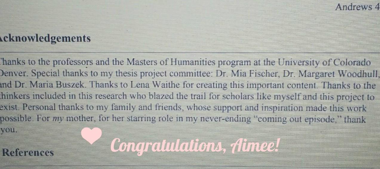 congrats to the graduate