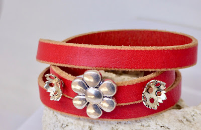 Red Leather Bracelet by BayMoonDesign