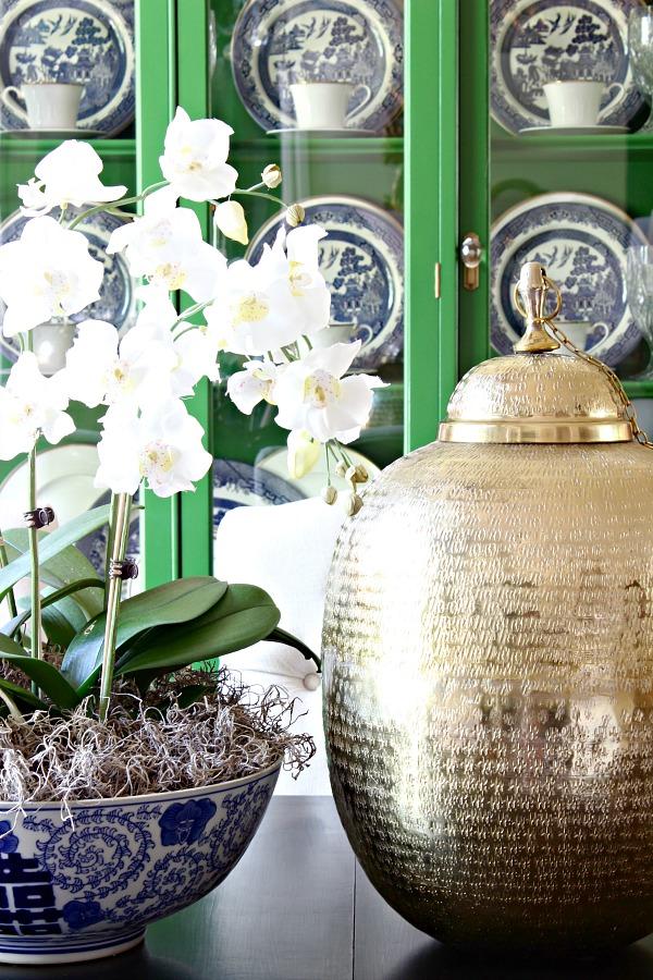 flower arrangement, orchids, faux orchid, blue and white