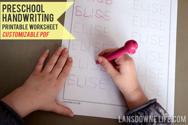 preschool handwriting worksheet free printable lansdowne life. Black Bedroom Furniture Sets. Home Design Ideas
