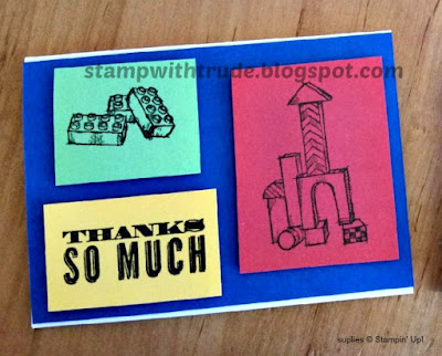 Stamp With Trude, Stampin' Up!, Thank You card, Legos, Boys Will Be Boys