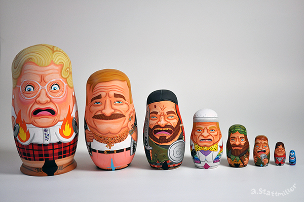 Green Pear Diaries, ilustraciones, matrioskas, Andy Stattmiller, Matryoshka Mania, Robin Williams