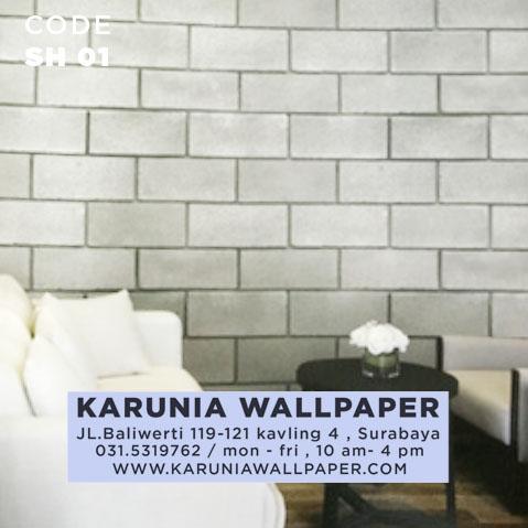 jual wallpaper batu bata abu abtu