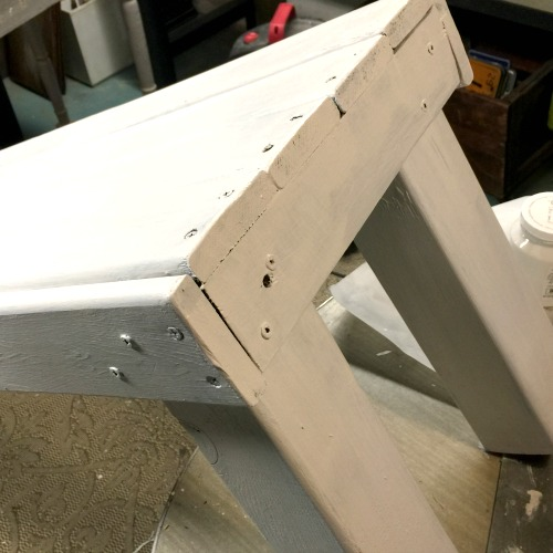 white painted bench